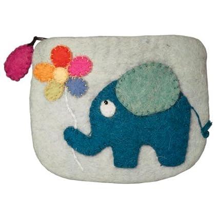 Amazon.com: Dzi Felted cartera – Elefante – Monedero titular ...
