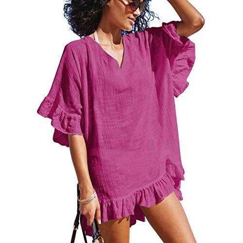 - OMSJ Cute Dress, Womens Swimsuit Cover ups Bikini Loose Beach Dresses Tunic (M, Deep Pink)