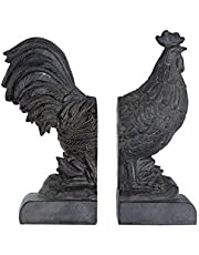 Creative Co-Op Distressed Bronze Rooster Shaped (Set of 2 Pieces) Bookends, Brown