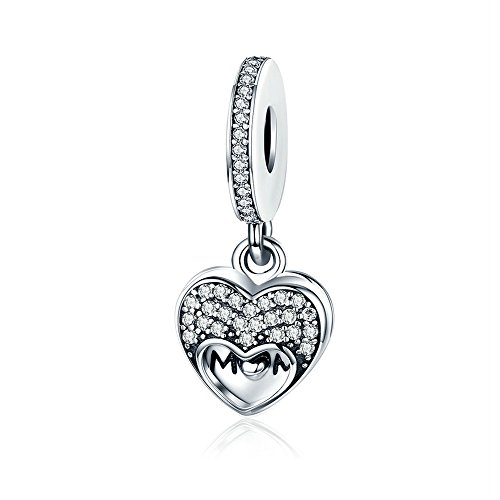 Everbling I Love Mom Heart CZ Dangle 925 Sterling Silver Bead Fits Pandora Charm Bracelet