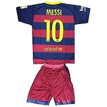 Kids FC Barcelona Messi 10 Jersey/Shorts Football Soccer DriFit Blue & Red