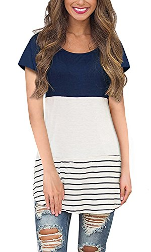 Size Short Sleeve Tunic Tops with Striped Hem Navy, XX-Large ()