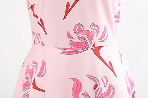 Cuello de Rosado Casual Sin A Estampado Plisados Línea en de Jitong Mangas V Vestido Playa para Vestidos Skater Fiesta Mujer 8THqnPg