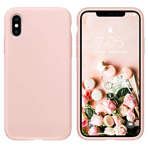 Case for iPhone X/iPhone Xs case Liquid Silicone Gel Rubber Phone Case, iPhone X/iPhone Xs 5.8 Inch Full Body Slim Soft Microfiber Lining Protective Case(Pink Sand) (Difference Between Iphone X And Iphone 8)