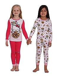 Hello Kitty Girls 4 Piece Cotton Pajama Set with Doorknob Hanger, Sizes 4-10