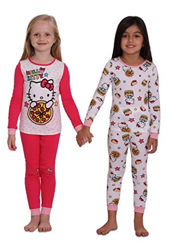 Hello Kitty Girls 4 Piece Cotton Pajama Set,, Kids Size 4]()
