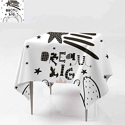 (Washable Square Tablecloth,Dream Big lettering Cute cartoon bear boy in scandinav,Resistant/Spill-Proof/Waterproof Table Cover 36x36 Inch ian st yle Childish print for nursery kids apparel poster pos)