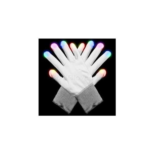 Hndtek Large Size LED White 6 Light Flashing Modes Gloves, Lightshow Dancing,Gloves For Clubbing, Rave, Birthday, EDM, Disco, and Dubstep Party,Flashing Glowing Unisex Gloves (1, White)