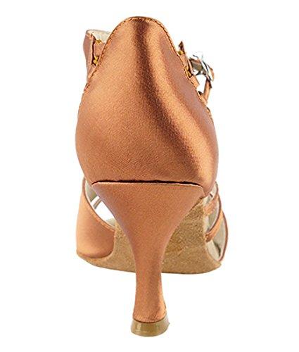 Très Belle Salle De Bal Latine Tango Chaussures De Danse Salsa Pour Les Femmes Cd2056 3-pouces Talon + Bundle De Brosse Pliable Brun Foncé Satin