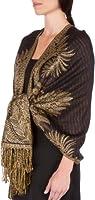 "Sakkas 70"" x 28"" Big Paisley Jacquard Layered Woven Pashmina Shawl / Wrap Stole"