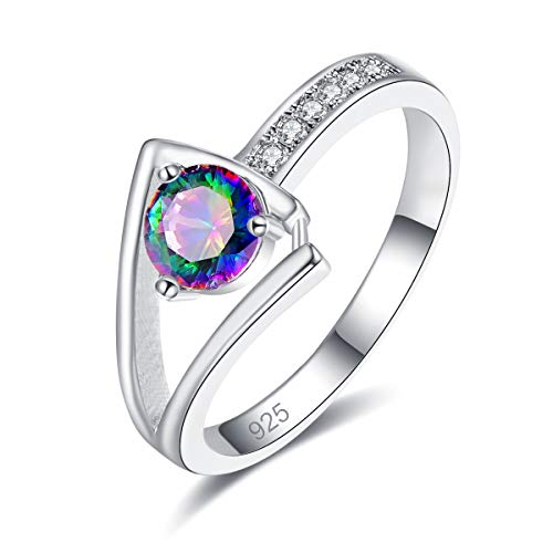 Veunora 925 Sterling Silver Plated Lab-Created Rainbow Topaz Promise Proposal Engagement Wedding Rings for Women Girl Size 8