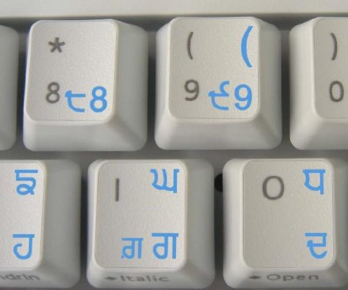 PUNJABI KEYBOARD STICKERS WITH BLUE LETTERING ON TRANSPARENT