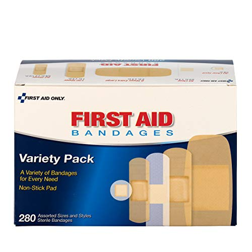 First Aid Only Sheer & Clear Bandage Variety Pack, Assorted Sizes, 280 Count - Strips Sheer Band Aid