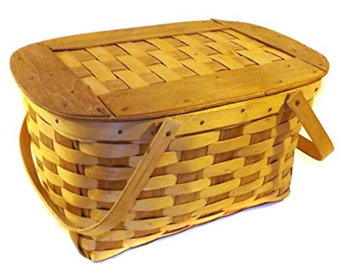 Vintage Woven Wood Two-Tone Double Handled Picnic Basket