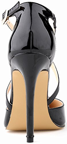 Ponity Stilettos Easy Pretty Snug Pretty Buckle Simple CFP Skid Charm 302 High Non Strap Toe Sturdy Fresh Slim Womens Business Ankle Spike YSE X Party Sandals Black Heel 12QP Office nqq8SwAB