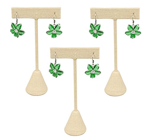 888 Display USA - 3 Beige Linen Earring T Stand Showcase Displays (5.75