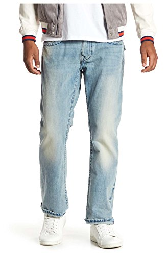 True Religion Mens Straight Leg Relaxed Fit Midnight Stitch Jeans w/Flaps In Rodeo Affair