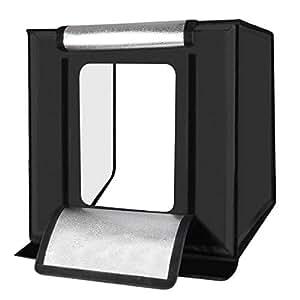 PULUZ 60cm x 60cm Folding Portable 60W 2 x 1690LM 5500K White Light Photo Lighting Studio Shooting Tent Box Kit with 3 Colors Backdrops (Black, Orange, White), Size: 60cm x 60cm x 60cm, EU Plug