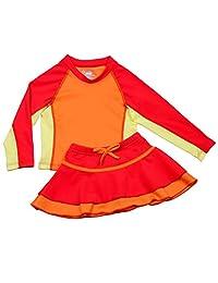 Nozone Girls Ruffled Sun Protective Two-Piece Swim Skirt Set - UPF 50+