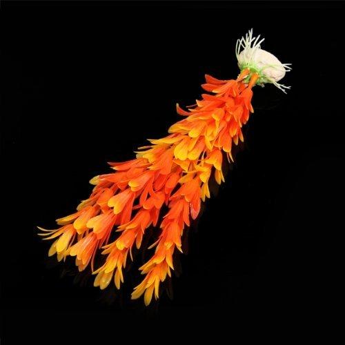 SODIAL(R) Kunstpflanze 15-23CM Aquarium Dekoration Wasserpflanze orange