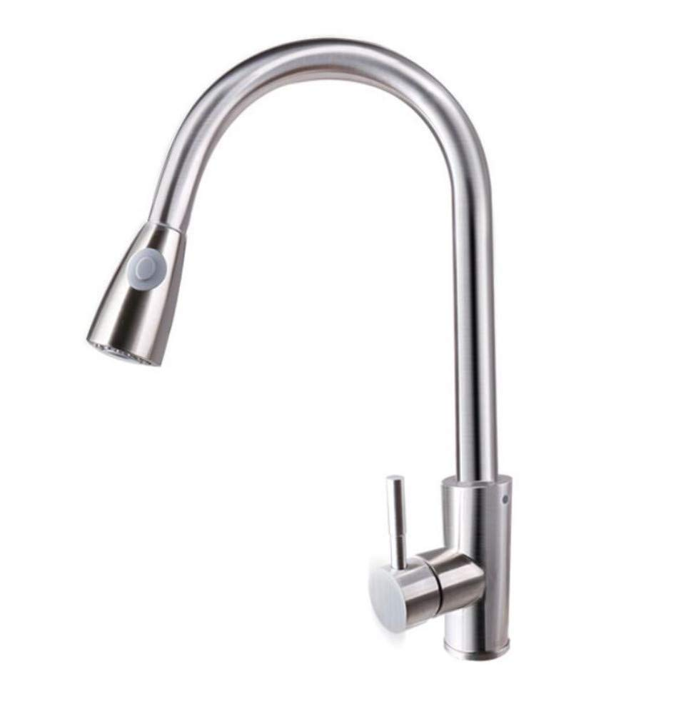Faucetfaucet 304 Stainless Steel Stretchable Sink Faucet Hot and Cold Water Copper Kitchen Sink Vientiane Faucet