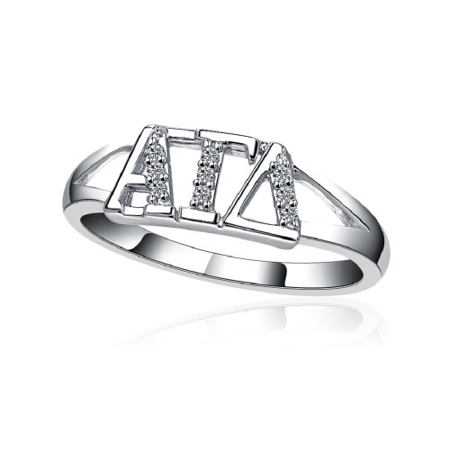 Greek Star Alpha Gamma Delta Horizontal Silver Ring ()