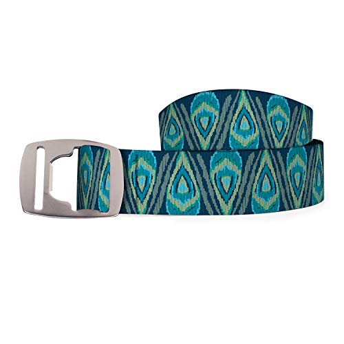 Croakies Unisex Artisan 2 Cut-To-Length Belt with Silver Bottle Opener Buckle (Peacock Turquoise)
