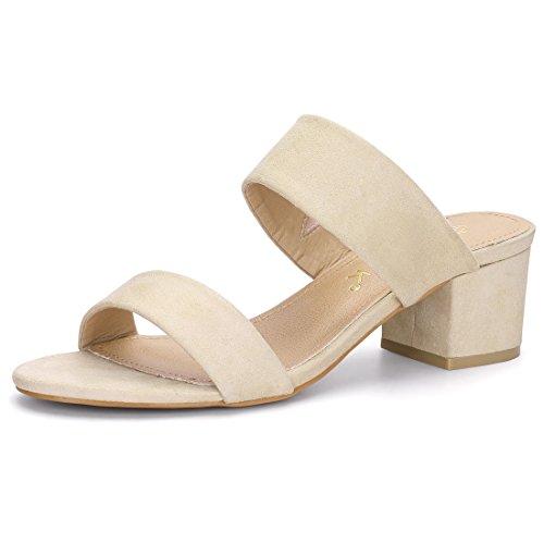 Block Sandals Allegra K Straps Dual Beige Slide Heel Women pxExnUq