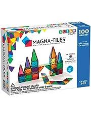 Magna Tiles 3-D Magnetic Building Tiles, Clear Colors, 100 Piece Set