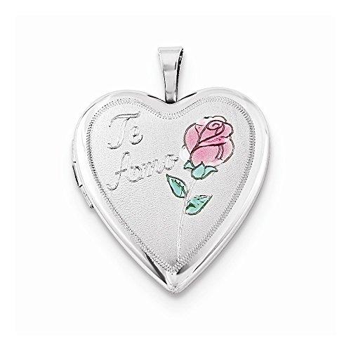 Jewelry Stores Network Sterling Silver 20mm Enameled Rose Te Amo Heart Locket