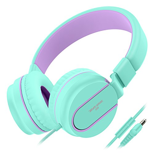 Besom i36 Kids Headphones with Microphone Stereo Lightweight Adjustable Foldable Headset for Cellphones Smartphones Laptop Computer Desktop PC Mp3/4(Green Purple)