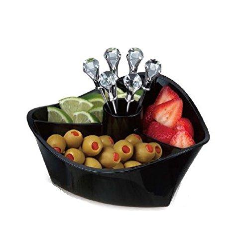 Prodyne GS-7-B Happy Hour black with Diamond Head martini Picks Garnish Server (Set of 6), Clear
