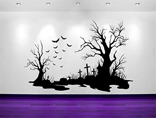 jacklae Room Wall Stickers Quotes Spooky Halloween Cemetery Scene Bats Tombstones Decorations Wall Decal Sticker Wall Home Holiday Decor Tim Burton