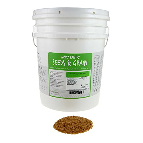 30 Lb Bucket (Organic Golden Flax Seeds - 30 Lbs Resealable Bucket - Yellow / Gold Flaxseeds - Flax Seed for Sprouting, Grinding, Omega Oils, Baking)