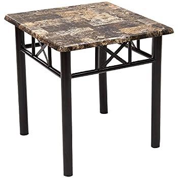 Adeco Adeco Side/End Table, Faux Marble Top, Black Metal Base, Black