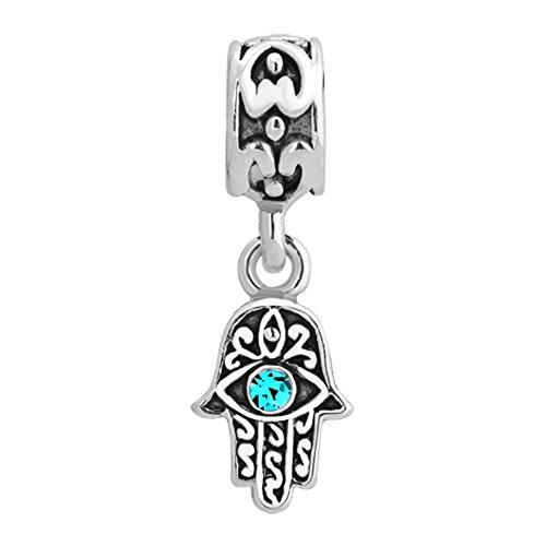 Mel Crouch Hamsa Hand of Fatima Charms Crystal Evil Eye Dangle Charm Beads for Bracelets (Dec-Blue)