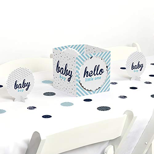 Big Dot of Happiness Hello Little One - Blue and Silver - Boy Baby Shower Centerpiece & Table Decoration -