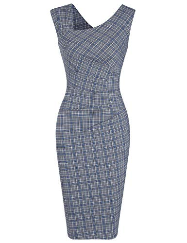 (MUXXN Women's Elegant Sleeveless Blue Plaid Pattern Stretchy Work Midi Dress (Blue Plaid M))