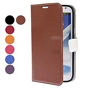 Solid Color PU Leather Case with Stand and Card Slot for Samsung Galaxy Note 2 N7100 (Assorted Colors) --- COLOR:Purple