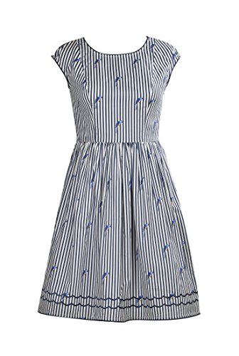 eShakti Women's Scallop trim bird print dress 3X-24W Regular Off-white/navy multi