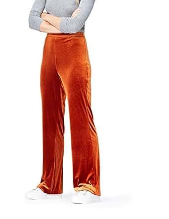 FIND Pantalones de Terciopelo para Mujer, Naranja (Orange), 36 (Talla del Fabricante: X-Small)