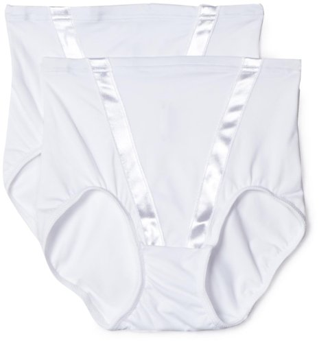 Panty Satin Shapers (Flexees by Maidenform Women's Everyday Control Modern Satin V Brief 2-Pack, White, Small)