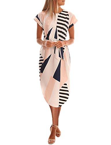 Kbook Women's Short Sleeve V Neck Geometric Pattern Floral Print Casual Slim Belted - Geometric V-neck Cotton Blend