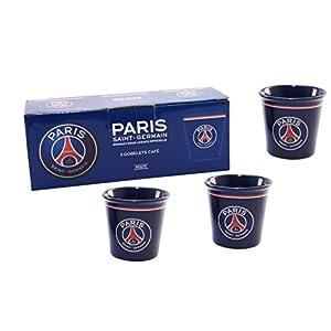 Confezione da 3 tazzine, bicchierini da caffè del Paris Saint Germain, collezione ufficiale, Football Ligue 1, in ceramica