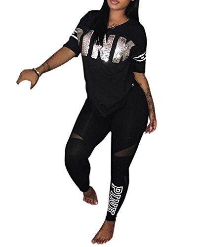 Molisry Women  Pink Word Letter Print V Neck Sweatshirt Long Pant Jumpsuits 2 Piece Outfits Black - Clothing Women's Suits