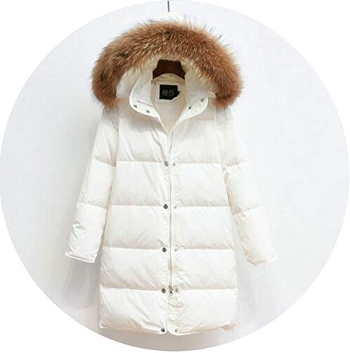 Winter Jacket Women Coat with Real 90% White Duck Down Jacket Warm Women Coat Parkas,White,XL