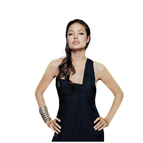 Angelina Jolie Wearing Black Dress One Strap Hands on Hips Bracelets Head Tilted Up Looking Forward Wavy Hair Over One Shoulder 8 X 10 Inch Photo