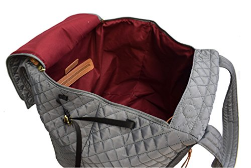 amp; Tote Handles Vittadini Pocket Quilted Adrienne Yoga Carry Front With Zip Gray Padded x8UT0wT