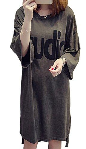 ルーフ遊具どんよりしたELPIS レディース ファッション 春 夏 ロングTシャツ ワンピース ドレス スカート ゆったり 大きいサイズ 五分丈 プリント ヒップライン カバー ラウンドネック Uネック (アーミーグリーン,L)