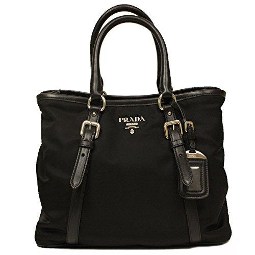 Prada Tessuto Soft Calfskin Leather Medium Top Handle Shoulder Bowling Bag with Removable Shoulder Strap